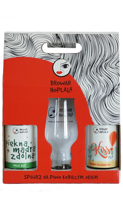 Hoplala Dwupak 2 butelki i szklanka IPA glass